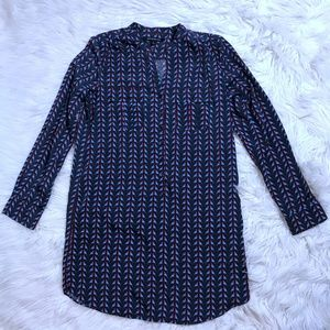 Boundary & Co Sz L Bird Print Long Slv Shirt Dress